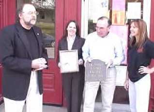 Smethport Mayor Ross Porter presides at plaque ceremony