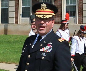 Retired Army Officer Sean O'Day presided over Memorial Day ceremony in Smethport.