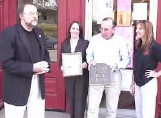 Smethport Mayor Ross Porter presides at plaque ceremony